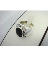 Sterling Silver Men's Oval Onyx Greek Key Ring - $38.00