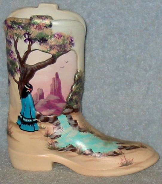 WESTERN SOUTHWEST DECOR POTTERY COWBOY BOOT TV LAMP NEW