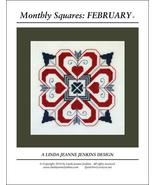 Monthly Squares February cross stitch card char... - $6.00