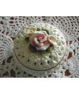 Porcelain Bisque basket weave Roses Trinket Box... - $10.00