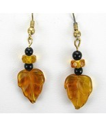 Vintage Amber Art Glass Leafs with Onyx + Amber... - $49.47