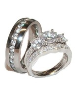 His & Hers 3 Piece Wedding Ring Set Sterling Si... - $49.99