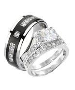 3 Pieces His & Hers Sterling Silver & Titanium ... - $44.99