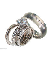 His & Hers  4  Piece Wedding Ring Set Sterling ... - $49.99