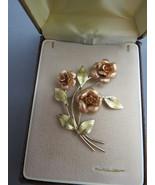 VTG Krementz Gold Filled Brooch Rose Gold Flowe... - $32.66