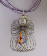 Autism Awareness Ribbon Angel Necklace Handmade - $11.00