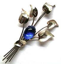 Retro Sterling by Jordan Big Brooch Blue Glass... - $35.00