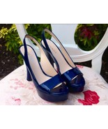 Prada Navy Patent Leather Sling Backs ~ Size 37... - $265.00