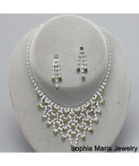 Olive green crystal Bib Necklace Earring Evenin... - $16.82