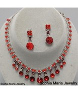 Victorian Stunning Red Crystal necklace set bri... - $22.77