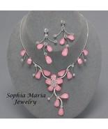 Pink Flower Crystal 2 piece Bridesmaid Wedding ... - $19.79
