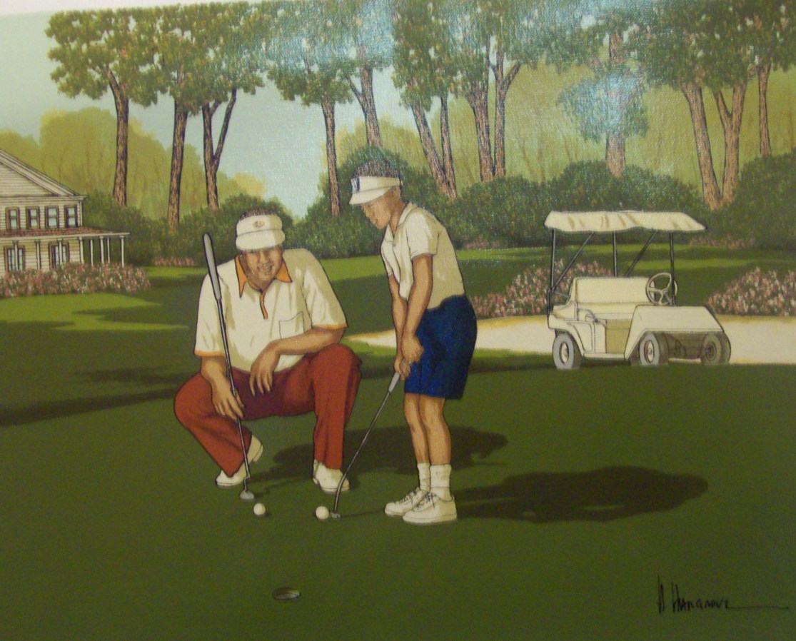 A Signed Quot H Hargrove Quot Serigraph Quot Golf Quot 12x16 Paintings
