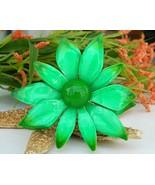 Vintage Metal Enamel Flower Brooch Pin Bright G... - $17.95