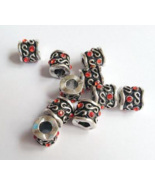 Red Scroll Euro Drum Bead Metal Alloy Beading S... - $3.00