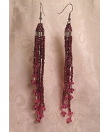 Purple and Pink Graduated Dangle Beaded Earrings - $25.00