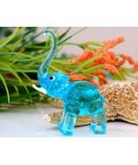 Vintage Hand Blown Glass Elephant Figurine Blue... - $9.95