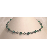 Green Faceted Bead Chain Link Choker - $10.00