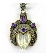 Hand Carved Mother of Pearl Goddess + Purple Am... - $141.12