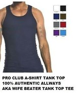 BLACK TANK TOP T-SHIRT by PRO CLUB LIGHT WEIGHT... - $21.85 - $31.35