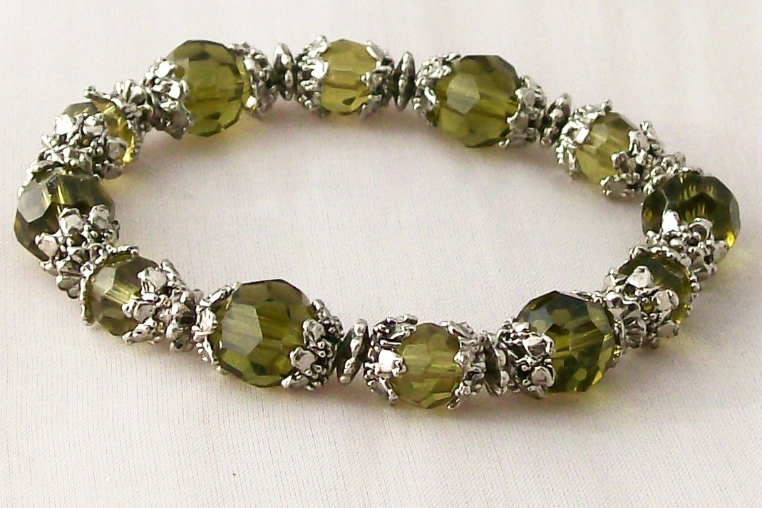 Bracelet Olive Emerald Crystals w Rhodium Hand Crafted Artisan Jewelry