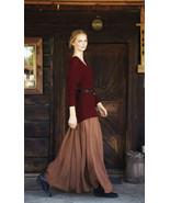 Feminine Fall. Khaki Chiffon Maxi Skirt. Fall W... - $64.90
