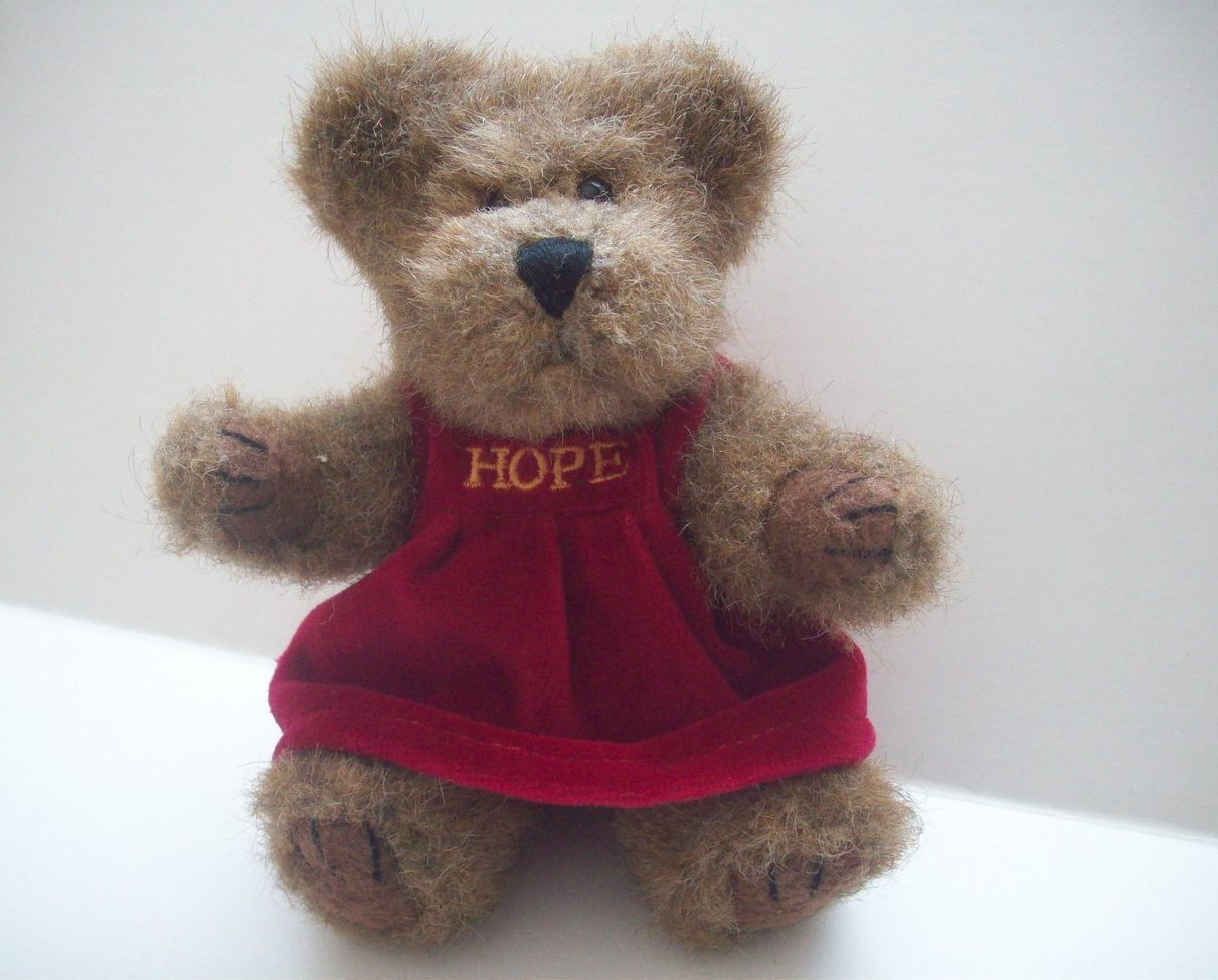Boyds Bear Brown Archive Series Jointed 7 Inches With Hope on Velveteen Jumper