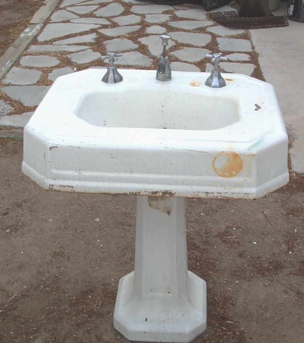 1920 Pedestal Sink : Antique Cast Iron Pedestal Sink circa 1920s - Sinks