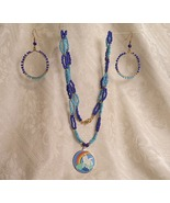 Two Blues and Gold Pegasus Beaded Necklace and ... - $30.00