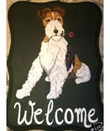 Fox Terrier Dog Custom Painted Welcome Sign Plaque - $31.95