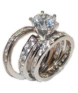 3  Piece Wedding Engagement  Ring Set Sterling ... - $39.99