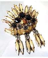 Vintage Juliana Brooch Black Gold Navette Rhine... - $36.00