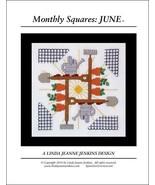 Monthly Squares June cross stitch card chart Li... - $6.00