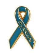 Ovarian Cancer Pin Teal Awareness Ribbon Gold L... - $10.67