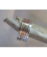 Stacking rings bands tri-color  metals  14K ros... - $68.50