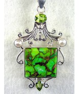 Large Green Square of Copper Turquoise and Amet... - $70.08