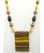 Bronze Pearl + AAA Onyx with Gold Tiger Eye Pen... - $150.72