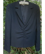Emporio Armani Ruched blazer Dark navy blue 12 ... - $52.99