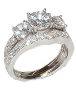2 pc Woman's  Sterling Silver Cz Cubic Zirconia... - $39.59