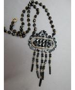 Victorian Era Pendant Necklace Jet Black Facete... - $128.69