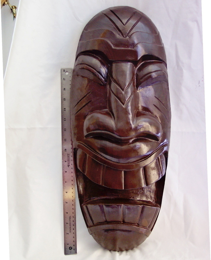 Tiki Mask Hawaiian Art Decor Dark finish 23 1 2  tall