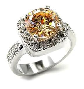 Ladies Russian CZ Sparkling Champagne Ring