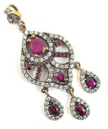Ornate Faceted Red Rubies with White Topaz outl... - $150.72