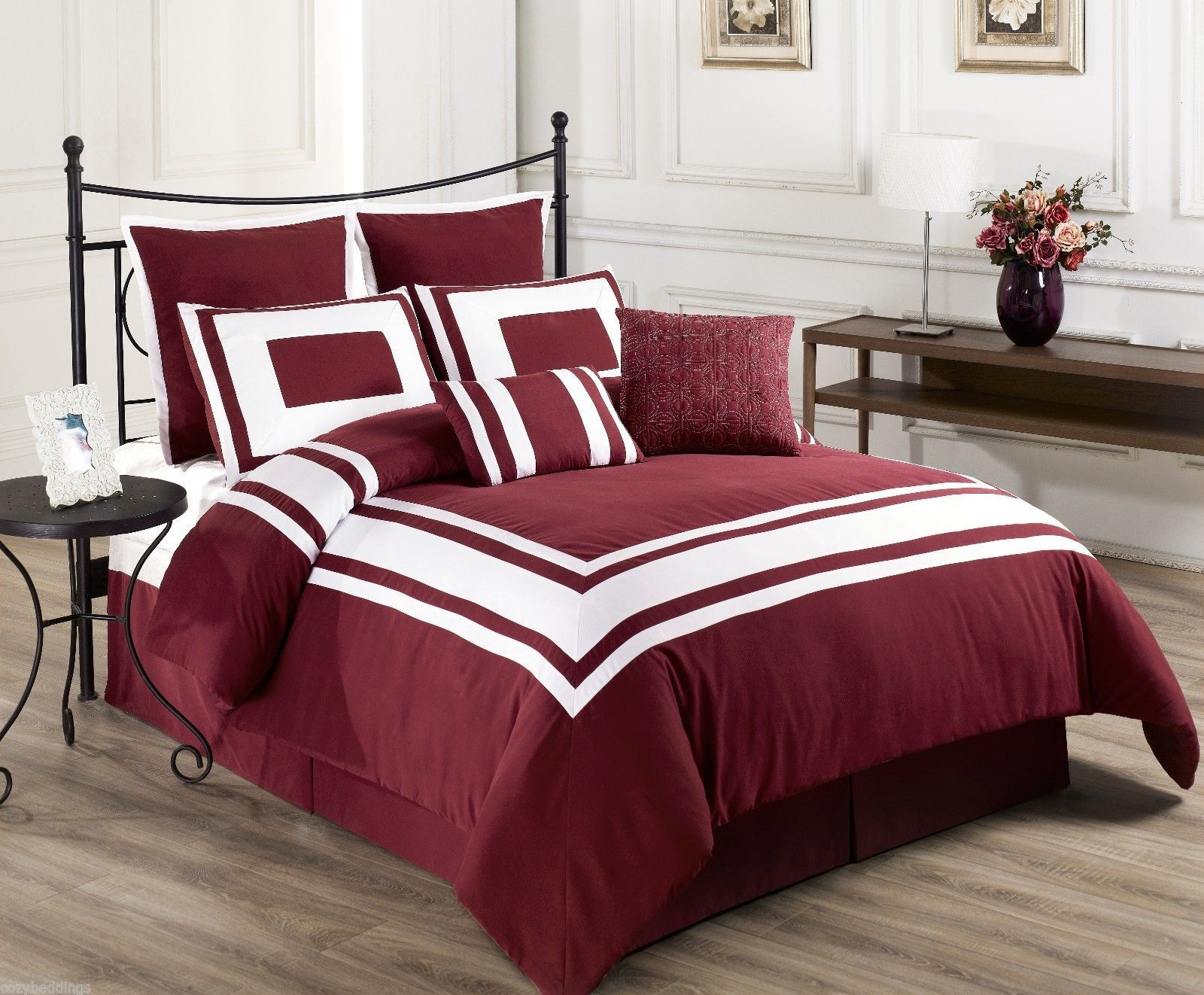 cal king size 8 pc comforter set with white stripe bedding