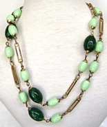 Guy Laroche France Necklace Green Lucite Bead ... - $48.00