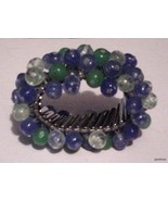 Heavy Beaded Blue/green Flexible Vintage Bracel... - $58.41