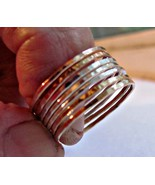 Handmade skinny stack rings set of 7 14K gold f... - $79.00
