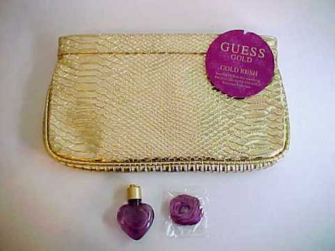 Guess Gold Metallic Evening Bag w/.25 Guess Gold Perfume Bottle