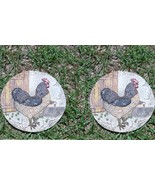 2 Rooster Stepping Stones Made of Cement - $22.00