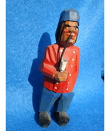 hand carved tiny wood man red jacket smoking pi... - $80.00