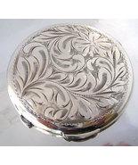 Vintage  Birks Sterling Compact  Engraved Leaf ... - $135.00